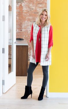 I love the vest and shirt but can't wear leggings to work. I'd pair it with slim black pants! I really love the vest with the red