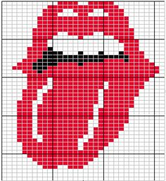 Rolling stones logo  more charts / graphs here  http://www.breienmetplezier.nl/Breipatronen/cont_knittpat.htm  use them for crochet, knitting, beadwork, crosstitch...