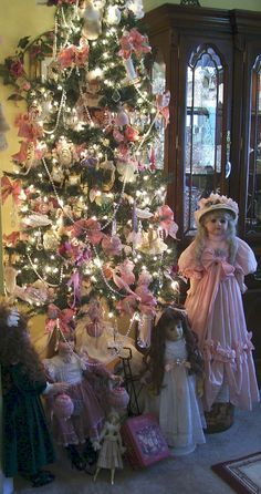 """Victorian Parlor Tree"" by Designs By Kat on Flickr - A Beautiful Pink Victorian Parlor Christmas Tree"