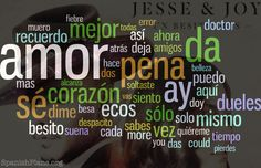 """Todas las letras del disco de """"Un Besito Mas"""" de Jesse y Joy en un wordcloud."""