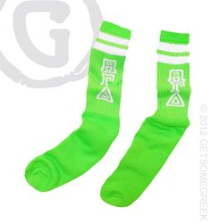 Neon AGD socks! want these - wish they had yellow or blue for game day...