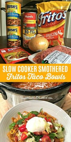 cooking recipes Today's slow cooker recipe is sure to have family and friends cheering - Slow Cooker Smothered Fritos Taco Bowls, a crowd pleasing meal! Slow Cooker Smothered Fritos Taco Bowls AKA, Fristos Pie - Just Crock Pot Recipes, Crockpot Dishes, Crock Pot Slow Cooker, Chicken Recipes, Easy Crockpot Recipes, Healthy Recipes, Potluck Recipes, Easy Crockpot Chili, Easy Chili Recipe