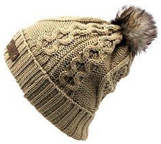55acae98 Women's Faux Fur PomPom Fleece Lined Knitted Slouchy Beanie Hat - Khaki