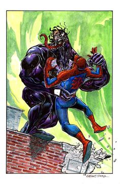 #Spiderman #Fan #Art. (Spider-Man Vs. Venom) By: Elliot Fernadez. (THE * 5 * STÅR * ÅWARD * OF: * AW YEAH, IT'S MAJOR ÅWESOMENESS!!!™) ÅÅÅ+