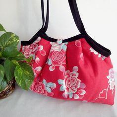 Japanese Kimono Pattern Granny bag purse roses red