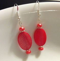 Earrings  Mother of Pearl Oval Beads  Coral Pink  by CraftyChic90, $4.00