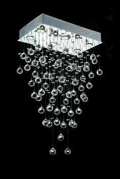 "Drops of Rain Design 6-Light 32"" Rectangular Chandelier Pendant with European, Swarovski, or Colored 30% Lead Crystals SKU# 13088"