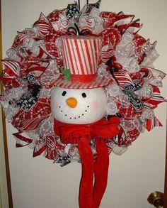 XL Candy Cane Stripe Top Hat Snowman Mesh by StarlightWreaths