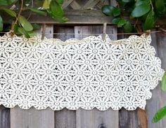 Vintage Crochet Doily Table Runner or Dresser Scarf, Long Rectangular Crocheted…