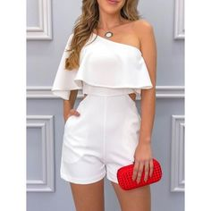 Girly Outfits, Classy Outfits, Chic Outfits, Trendy Outfits, Summer Outfits, Girls Fashion Clothes, Girl Fashion, Fashion Dresses, White Romper Outfit