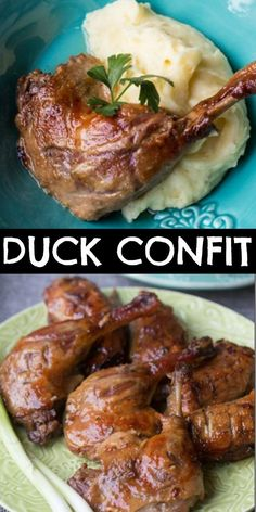 French Recipes 32870 The best Duck Confit recipe! The skin is crisp and the meat is so tenderly succulent, you might have to give yourself a moment or two before uttering a word after your first bite of this fine French dish. Roasted Duck Recipes, Confit Recipes, Meat Recipes, Chicken Recipes, Dinner Recipes, Slow Cooker Duck Recipes, Duck Leg Recipes, Sauce Supreme, Duck Breast Recipe