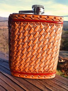 Groomsmen Gift: HandTooled Leather Covered by FeatherRiverLeather