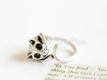 Silver  Vintage cat ring,animal ring,RN2597