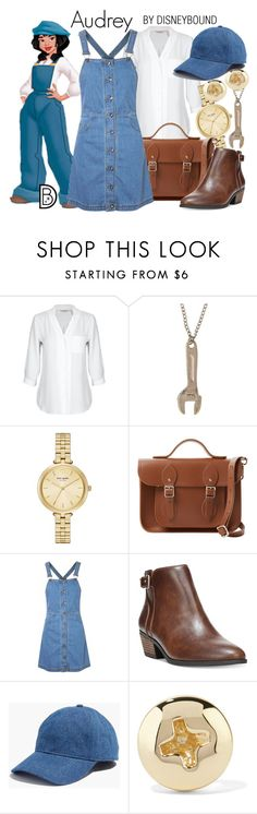 """Audrey"" by leslieakay ❤ liked on Polyvore featuring Disney, Kate Spade, The Cambridge Satchel Company, Glamorous, Dr. Scholl's, Madewell, Alison Lou, disney, disneybound and disneycharacter"