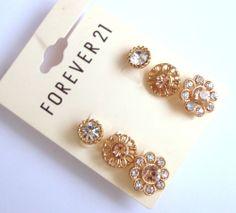 Forever 21 Lot of 3 Pairs Peach Rhinestone Blossom Flower Stud Earring Set | eBay
