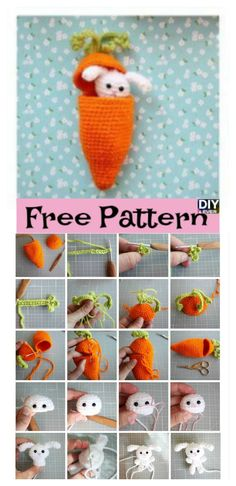 Carrot Surprise Easter Bunny Crochet Free Pattern #freepattern