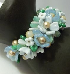 Vintage Glass Flower Cluster Bracelet Very Early Haskell or Hess Must See | eBay