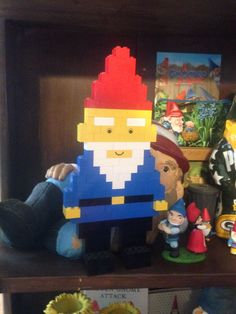Lego gnome made by Andrew Safford. Crafts For Kids To Make, Crafts For Girls, Lego Duplo, Lego Engineering, Lego Decorations, Lego Kits, Lego Christmas, Lego Activities, Lego Craft