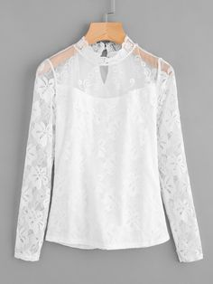 SheIn offers Keyhole Embroidered Mesh Yoke Lace Top & more to fit your fashionable needs. Girls Fashion Clothes, Women's Fashion Dresses, Girl Fashion, Clothes For Women, Abaya Style, Top Chic, Black Lace Jacket, Fancy Tops, Stylish Dresses For Girls