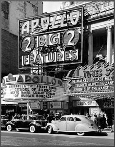 1940 - Movie Theatres on West 42nd Street, between Broadway  8th Avenue. New York, New York