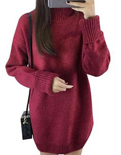 OLYR Womens Autumn Winter Long Sleeve Casual Knitted Pullover Turtleneck Seater Dress Burgundy * Read more reviews of the product by visiting the link on the image. (This is an affiliate link)