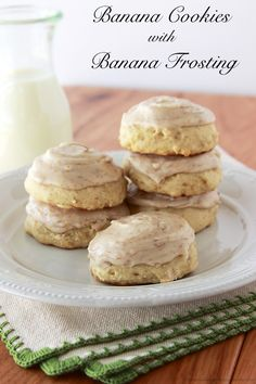 Banana Cookies with Banana Frosting you'll let your bananas get overripe just to make this recipe! YUM! by www.whatscookingwithruthie.com #cookies #banana