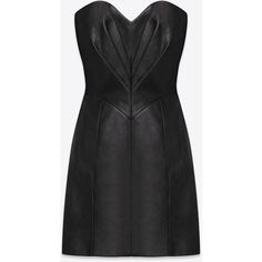 Saint Laurent Signature Heart-Shaped Bustier Dress In Black Leather ($2,279) ❤ liked on Polyvore featuring dresses, vestidos, short dresses, black dress, black, leather dress, leather mini dress, black cocktail dresses and bustier dress