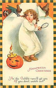 Halloween Greetings Antique Postcard