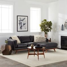 Del Ray Leather Sectional in Oxford Blue | condo - furniture ...