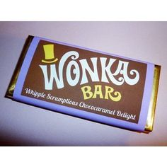 Wonka Bar wrappers Wonka Bar candy bar wrapper template Willy Wonka birthday party favors printable PDF Charlie and the Chocolate Factory