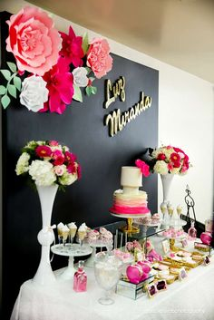 ADAL Kreation 's Baby Shower / Pink a Black floral baby shower. - Photo Gallery at Catch My Party