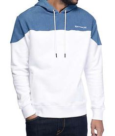 The color blocked denim style of the Bottom Up white and blue hoodie from Mighty Healthy brings awesome style to your wardrobe. The denim-like upper body features an adjustable drawstring hood and is finished with an embroidered Mighty Healthy text logo o Sewing Men, Jogging, Hoodie Pattern, Cool Hoodies, Men's Hoodies, Mens Fashion Suits, Fashion Women, Tee Shirt Designs, Hoodie Outfit