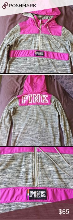 VS PINK Windbreaker Sweater Bought from another posher because I loved it so much but unfortunately it is too short on me. I usually wear a medium. Comfy sweatshirt material with windbreaker hood and details. Excellent condition! PINK Victoria's Secret Tops Sweatshirts & Hoodies
