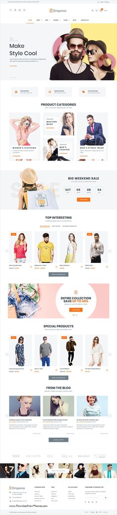 Emporos is clean, stylish and modern design responsive #WooCommerce #WordPress theme for stunning #fashion store #eCommerce website with 3+ niche homepage layouts to live preview & download click on Visit