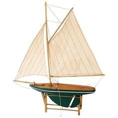 Sail Boat Model on Stand ($179) ❤ liked on Polyvore featuring home, home decor, decorative objects and handmade home decor