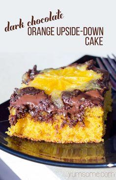 My light and moist #vegan #chocolate #orange upside down #cake has plenty of zesty orange flavour, and loads of rich dark, gooey chocolate. | yumsome.com via @yums0me