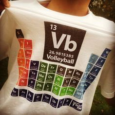 The Periodic Table of Volleyball from Frisco Mo It takes all of the elements to make a great team. I'm an old-timer that knows volleyball folks are the best around – kind, clever, hardworking fun-seekers that love the game. I make shirts for us. Volleyball Room, Funny Volleyball Shirts, Volleyball Posters, Volleyball Setter, Volleyball Workouts, Volleyball Outfits, Volleyball Quotes, Volleyball Gifts, Coaching Volleyball