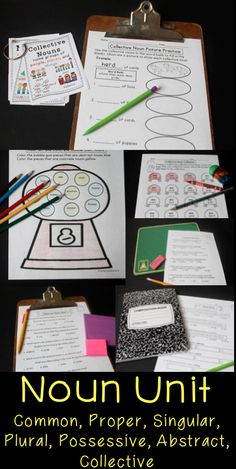 Noun unit with sorts activities and assessments covers abstract