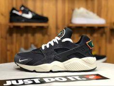 43958f0bf8b1 Nike Air Huarache Run Premium Black   Green   Sail   Orange 704830 015 Mens  Womens