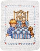 Bedtime Prayer Boy Quilt Stamped Cross Stitch Kit - Click to enlarge