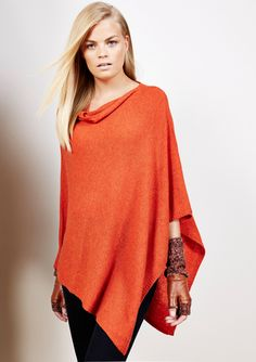 FORTE CASHMERE Cashmere Featherweight Drape Poncho