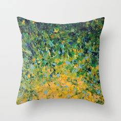 IRISH SUNRISE - Beautiful BOLD Lime Kelly Forest Green Sunrise Sunset Abstract Nature Painting Throw Pillow by EbiEmporium | Society6