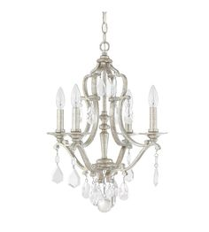 Capital Lighting Blakely 4 Light Mini Chandelier in Antique Silver with Clear Crystals 4184AS-CR #lightingnewyork #lny #lighting
