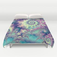 Violet Teal Sea Shells, Abstract Underwater Forest Duvet Cover #DianeClancy