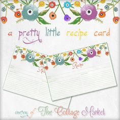 The Cottage Market: a pretty little recipe card anthropologie inspired (Send w/ invites so guests can bring fav. Printable Recipe Cards, Printable Crafts, Free Printables, Paper Crafts, Diy Crafts, Paper Paper, Recipe Scrapbook, Wrap Recipes, Scrapbook Paper