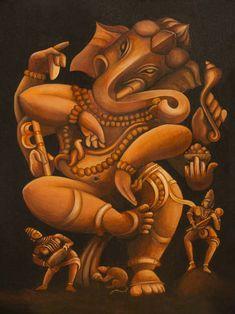 Ganesha Drawing, Lord Ganesha Paintings, Ganesha Art, Kerala Mural Painting, Indian Art Paintings, Shiva Art, Hindu Art, Dancing Ganesha, Hindu Statues