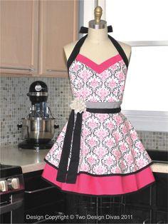 Apron Pink Black Damask by twodesigndivas, via Etsy.