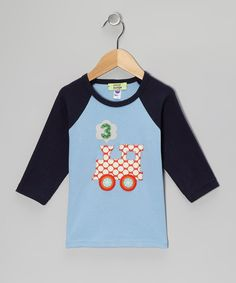 The perfect top for a special birthday party or the other 364 days that follow, this American-made tee can be personalized with the number that a bitty train lover is turning. The contrast raglan style and hand-stitched appliqué is sure to make it the number one choo-choo-choice for celebrating!Personalize with one numeral100% cotton