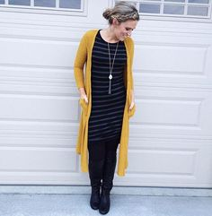WEBSTA @ rockstyleteach - NEW BLOG POST on the LuLaRoe Julia! It's the most inexpensive LuLaRoe women's dress but can be styled in so many ways! I'm talking about Julia sizing and styling over @rockstyleteach (link in bio), but here is a bonus way to style it for fall   winter that I tried out today: The Julia is a great base for your favorite cold weather accessories...OTK boots, leggings, duster cardis...the possibilities are endless with this one. Yay, fall!