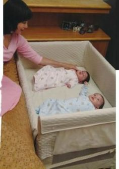 Arms Reach Co-Sleeper Twin Cot is a nice alternative to a bassinet, or pack 'n play when you have a set of twins. Plenty of room for them to sleep together and can be in the same room with Mom and Dad during the night. Second Baby, First Baby, Co Sleeper, Nursery Twins, Baby Co, How To Have Twins, Everything Baby, Twin Babies, Baby Bedding